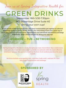 Green Drinks~ September 18th 5:30-7:30 at Spring !